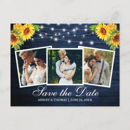 Blue Wood Sunflower Floral 3 Photo Save The Date Invitation