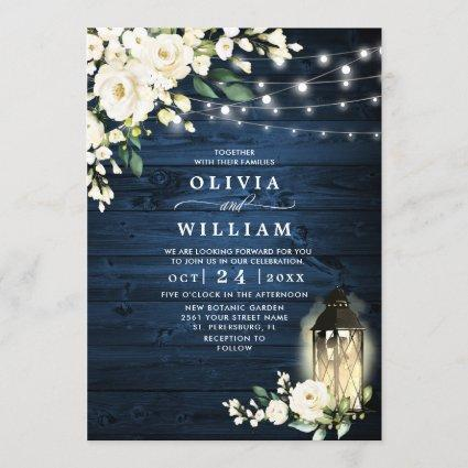 Blue Wood & White Roses Lantern Watercolor wedding Invitation