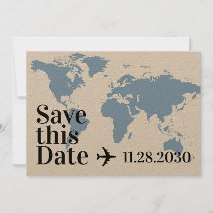 Blue World Map and Airplane Heart Bold Destination Save The Date