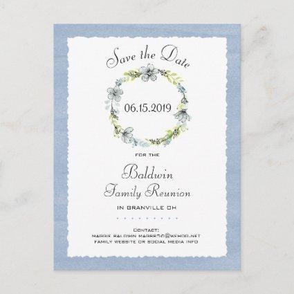 Blue Wreath Country Family Reunion Save the Date Announcements Cards