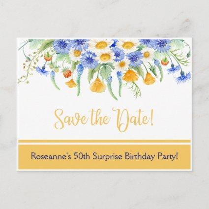 Blue Yellow White Wildflowers Save The Date Announcement