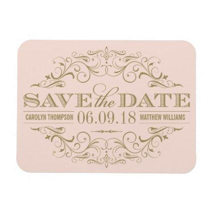 Blush and Gold Save the Date | Swirl and Flourish Magnets