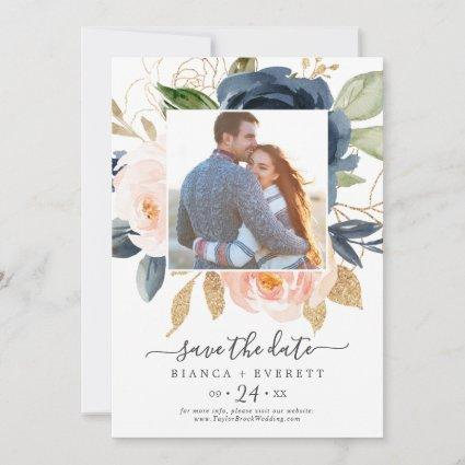 Blush and Navy Flowers White Photo Save the Date