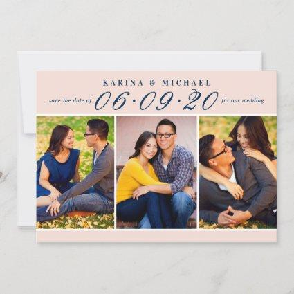 Blush and Navy Wedding Date in Script Multi-Photo Save The Date