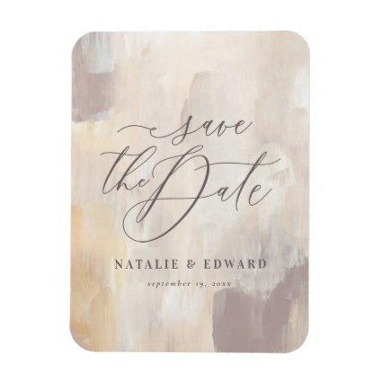 Blush beige abstract painted wedding magnet