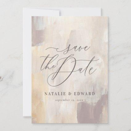 Blush beige abstract painted wedding photo