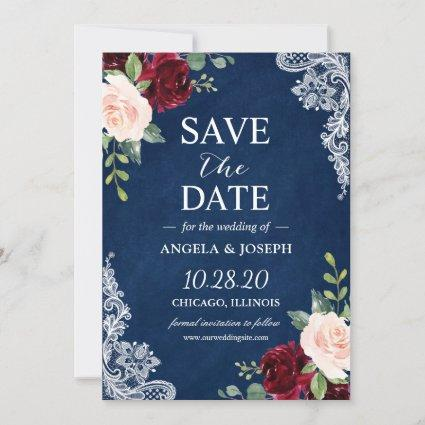 Blush Burgundy Floral Navy Blue Lace Wedding Save The Date