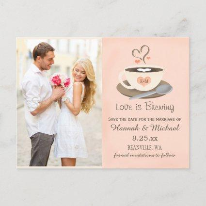 Blush Coffee Cup Monogram Heart Save the Date Announcement