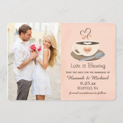Blush Coffee Cup Monogrammed Heart Save the Date