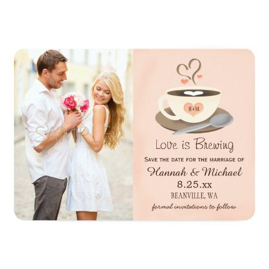 Blush Coffee Cup Monogrammed Heart Save the Date 5x7 Paper Invitation Card