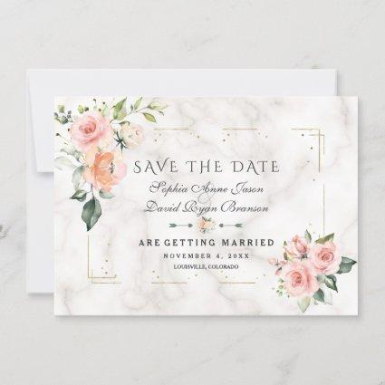 Blush Cream Floral Gold Glitter Marble Wedding Save The Date