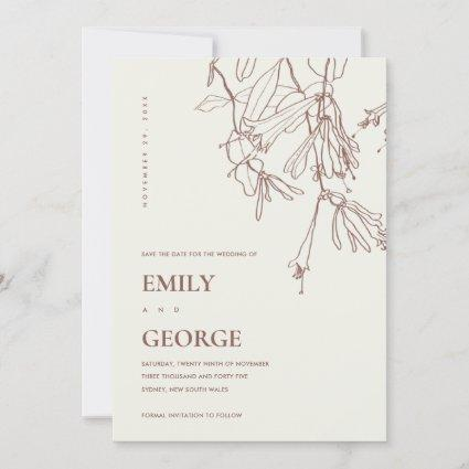 BLUSH CREAM LINE DRAWING FLORA SAVE THE DATE CARD