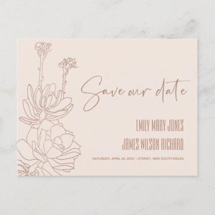 BLUSH DESERT CACTI SUCCULENT SKETCH SAVE THE DATE ANNOUNCEMENT