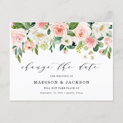 Blush Floral Change The Date Wedding Postponement Announcement