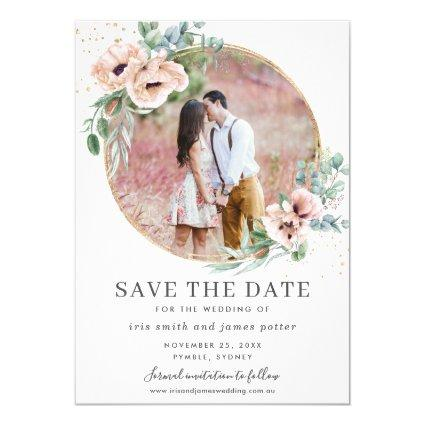 Blush Floral Eucalyptus Photo Save the Date Card