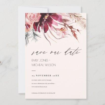 Blush Floral Pampas Grass Save the Date Invite
