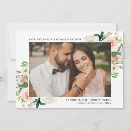 Blush Florals | Photo Save the Date