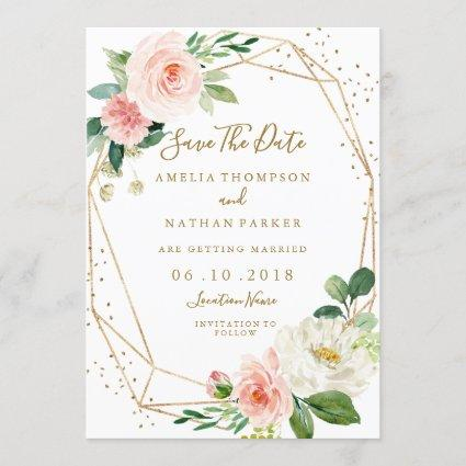 Blush Gold Floral Geometric Wedding Save The Date