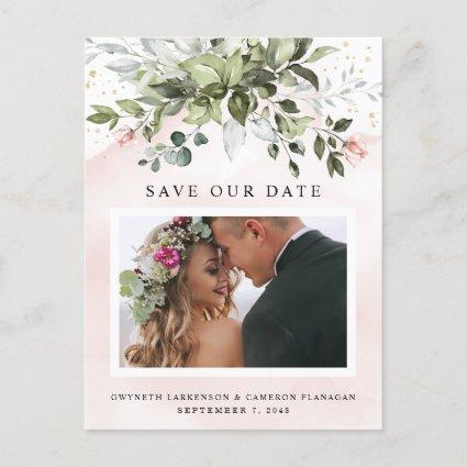 Blush Gold Greenery Dusty Blue Save the Date Photo