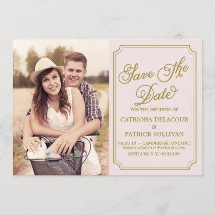 Blush & Gold Whimsical Save the Date Announcement