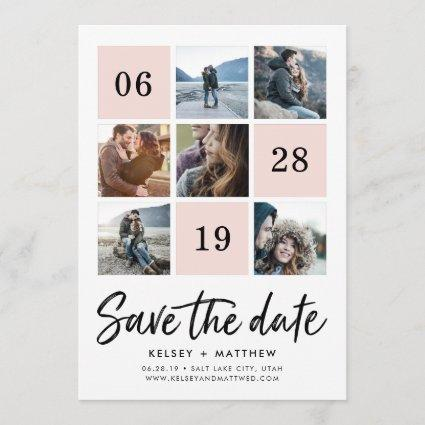 Blush Grid Collage | Photo Save the Date