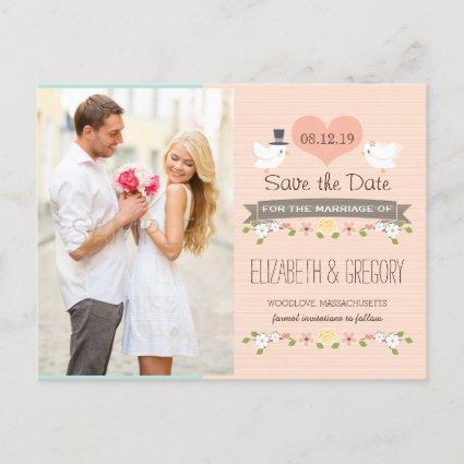 BLUSH LOVE BIRDS DOVE SAVE THE DATE ANNOUNCEMENT