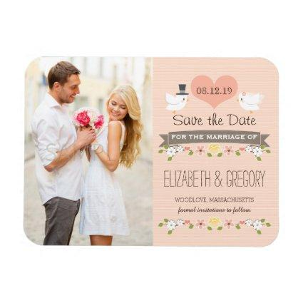 Blush Love Birds Dove Save the Date Magnets
