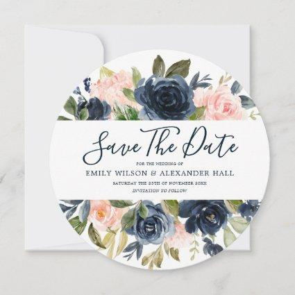 Blush & Navy Watercolor Florals Modern Wedding Save The Date
