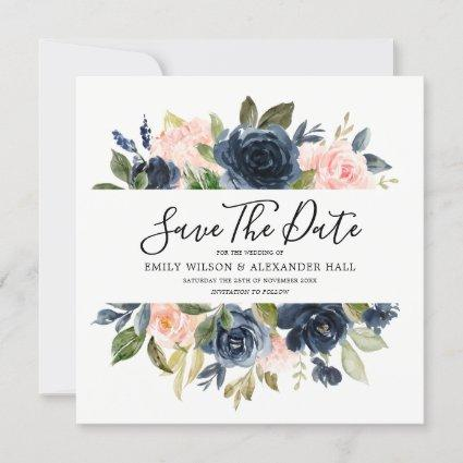 Blush & Navy Watercolor Flowers Wedding Save The Date