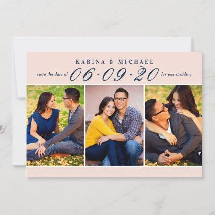Blush Navy Wedding Date in Script Photo Collage Save The Date