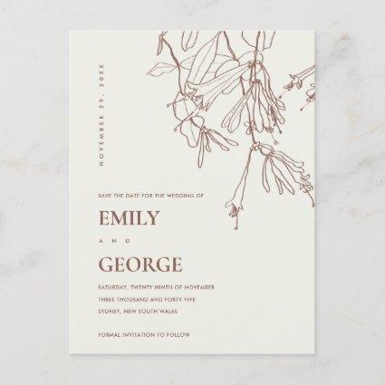 BLUSH OFF WHITE LINE DRAWING FLORAL SAVE THE DATE ANNOUNCEMENT