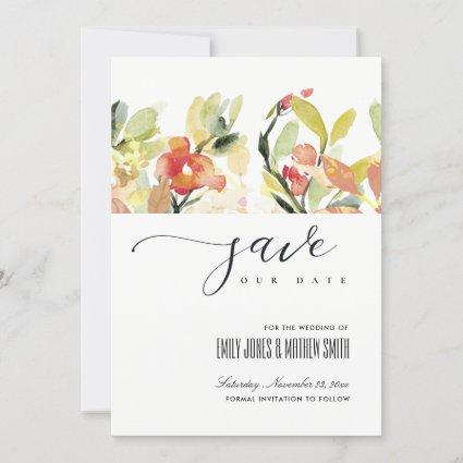 BLUSH PEACH PINK WATERCOLOR FLORAL SAVE THE DATE