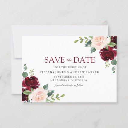 Blush Perfection: Burgundy Blush Floral Watercolor Save The Date