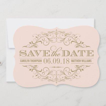 Blush Pink and Antique Gold Flourish | Wedding Save The Date