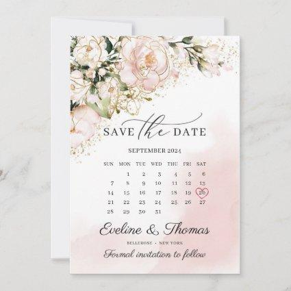 Blush pink and gold floral greenery gold sparkles save the date