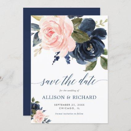 Blush pink and navy blue floral save the date invitation