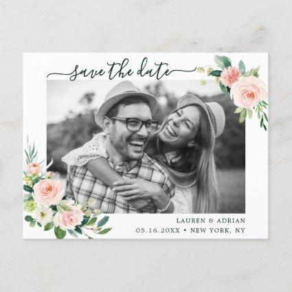 Blush Pink Bloom Save The Date Photo Announcement