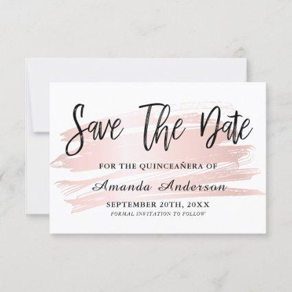 Blush Pink Brush Script  Quinceanera Save The Date
