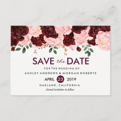 Blush Pink Burgundy Flowers Wedding Save The Date