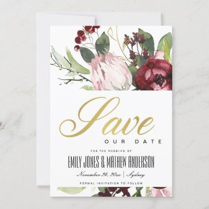 BLUSH PINK BURGUNDY PROTEA FLORAL WATERCOLOR SAVE THE DATE