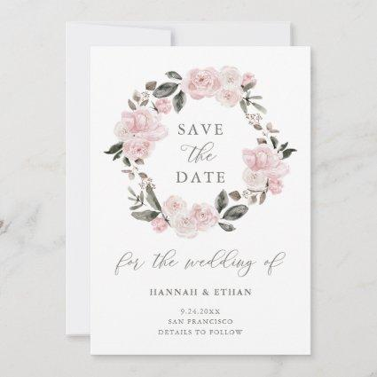 Blush Pink Floral and Calligraphy | Watercolor Save The Date