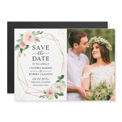 Blush Pink Floral Frame Photo Save the Date Magnet