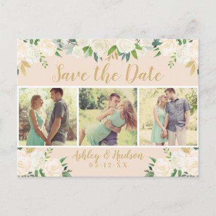 Blush Pink Floral Multi-Photo Save the Date Announcement