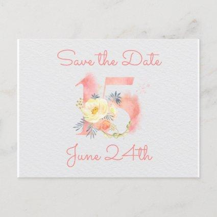 Blush Pink Floral Number 15 Save the Date Announcement