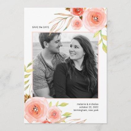 Blush Pink Floral photo save the date card