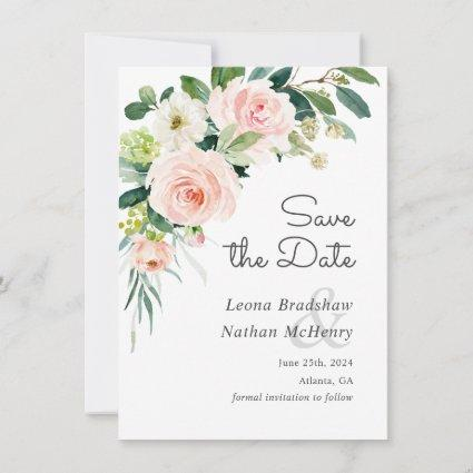 Blush Pink Floral Save the Date