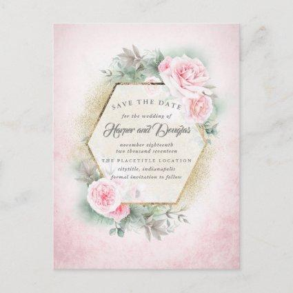 Blush Pink Floral Save the Date Announcement