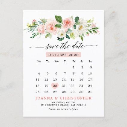 Blush Pink Florals Modern Botanical Save the Date Announcement