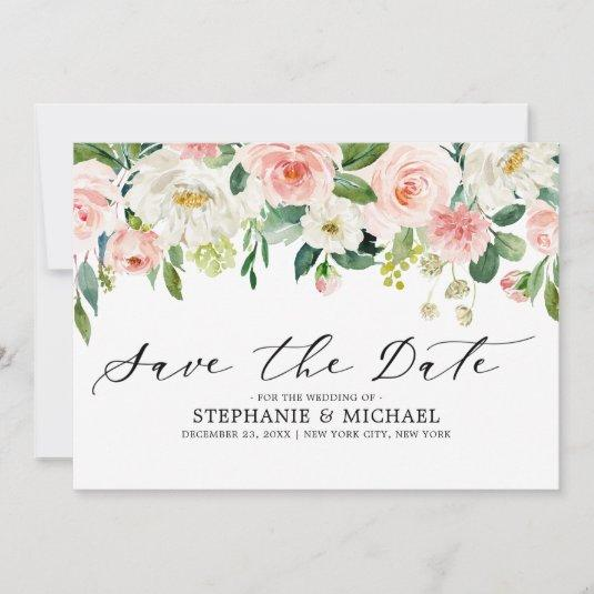 Blush Pink Florals Modern Botanical Wedding Save The Date