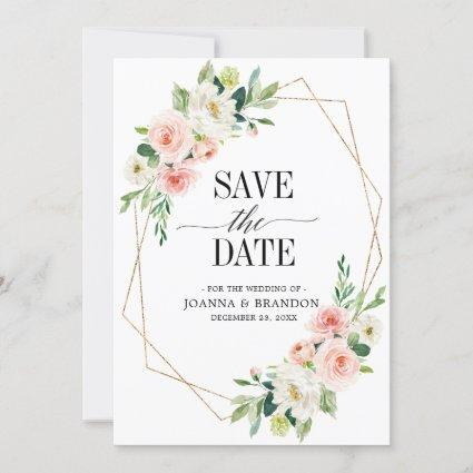 Blush Pink Florals Modern Geometric Gold Frame Save The Date